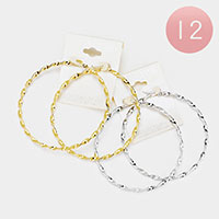 12PCS -Stainless Steel Knotted Metal Pin Catch Hoop Earrings
