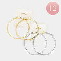12PCS - Stainless Steel Metal Pin Catch Hoop Earrings