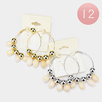 12PCS - Puka Shell Dangle Metal Ball Hoop Earrings