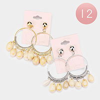 12PCS - Puka Shell Dangle Hoop Earrings