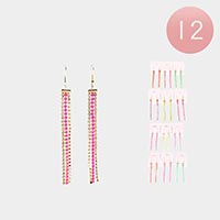 12PCS - Rhinestone Pave Fringe Drop Earrings