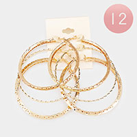 12 Set of 3 - Textured Metal Hoop Earrings
