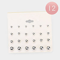 12 Set of 12 - Metal Ball Stud Earrings