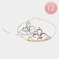 12PCS - Glass Crystal Rhinestone Mini Tiaras