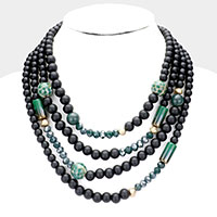 Multi Ball Bead Pre Layered Toggle Necklace