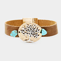 Suede Natural Stone Tree of Life Metal Magnetic Bracelet