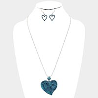 Hammered Metal Heart Pendant Necklace