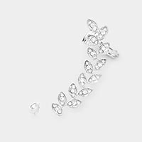 2PCS - Leaf Rhinestone Pave Ear Cuff Earrings