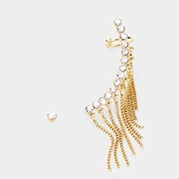 2PCS - Rhinestone Pave Chain Fringe Ear Cuff Earrings