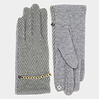 Herigbone Pattern Gold Chain Smart Gloves