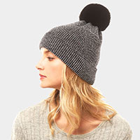 Metallic Thread Pompom Beanie Hat