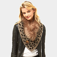 Leopard Faux Fur and Bottons Chenille Tube