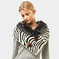 Zebra Pattern Faux Fur and Bottons Chenille Tube
