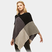 Chenille Color Block Poncho