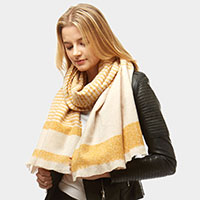 Striped Boucle Oblong Scarf