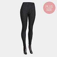 Comfy Stripe Pattern Terry Fur Plus Size Leggings