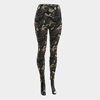 Camo Pattern Terry Fur Leggings