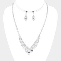 Marquise Oval Rhinestone Pave Necklace