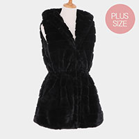 Stripe Texture Faux Fur Plus Size Vest