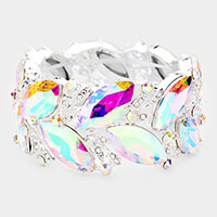 Marquise Glass Crystal Stretch Evening Bracelet