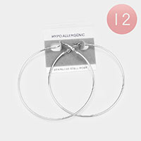 12PCS - Stainless Steel Hypo allergenic Metal Hoop Earrings