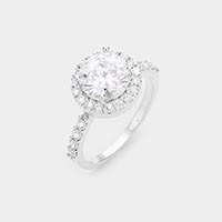 White Gold Dipped Prong Cubic Zirconia Ring