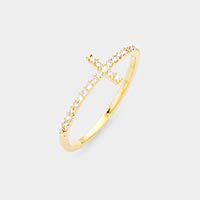 Gold Dipped Cubic Zirconia Cross Pave Ring
