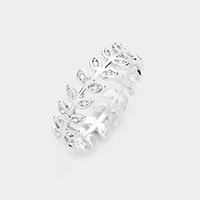 White Gold Dipped Cubic Zirconia Leaf Ring