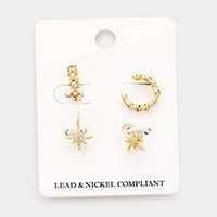 4PCS - Rhinestone Crystal Ear Cuff Earrings