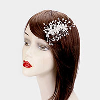 Crystal Flower Pearl Leaf Vine Hair Comb