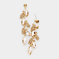 Crystal Marquise Cluster Drop Evening Earrings
