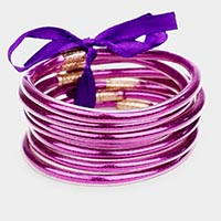 7PCS - Glitter Jelly Tube Bangle Bracelets