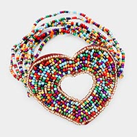 Faceted Bead Heart Stretch Bracelet