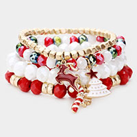 4PCS - Christmas Rudolph Charm Bead Stretch Layered Bracelet