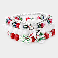 4PCS - Christmas Tree Rudolph Snowflake Charm Bead Stretch Layered Bracelet