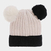 Pom Pom Ear Solid Beanie Hat