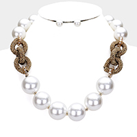 Chunky Pearl Rhinestone Knot Collar Necklace