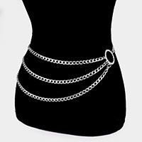 Rhinestone Crystal Open Circle Layered Waist Belt