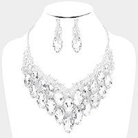 Glass Crystal Marquise Vine Leaf Evening Necklace