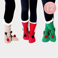 12PAIRS - Christmas Rudolph Sherpa Slipper Socks