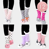 12PAIRS - Animal Theme Dot Sherpa Slipper Socks