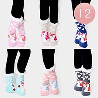 12PAIRS - Unicorn Sherpa Slipper Socks