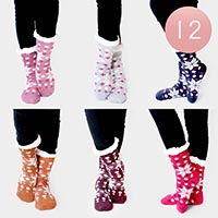 12PAIRS - Christmas Theme Snowflake Sherpa Slipper Socks