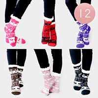 12PAIRS - Christmas Theme Sherpa Slipper Socks