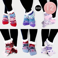 12PAIRS - Christmas Theme Sherpa Slipper Kids Socks