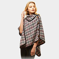 Plaid High Neck Buttons Poncho