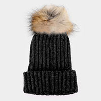 Raccoon Fur Pom Pom Beanie Hat