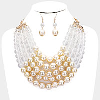 Chunky Multi Strand Pearl Bib Necklace