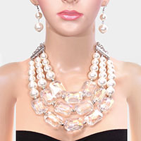 Pearl Accented Rectangle Stone Triple Strand Bib Necklace