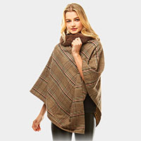 Plaid Faux Fur Collar Poncho